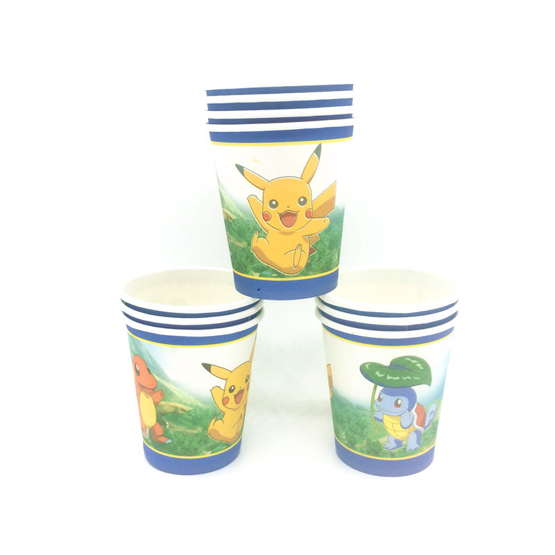 128Pcs\lot Cartoon Pokemon Go Kids Favors Plates Birthday Party Baby Shower Flag Tablecloth Cups Decoration Banners Supplies