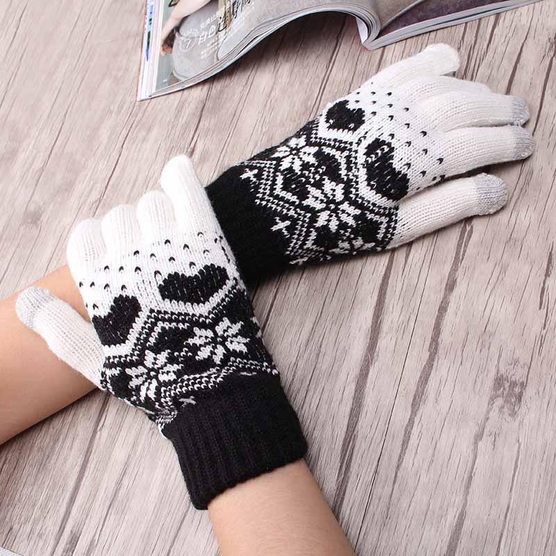 Children Girl's Winter Warm Snowflake Gloves Kids Women Heart Pattern Luvas Wool Knit Mittens Full Finger Children Glove