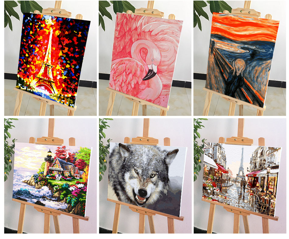 Paint By Numbers - 8 Various Animals Landscape Canvas