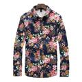 Мужская Цветочный Принт рубашка 2016 Высокое Качество Плюс Размер Длинные рукавами Рубашки сорочка homme Мужчины Мода Slim Fit Рубашки рубашки