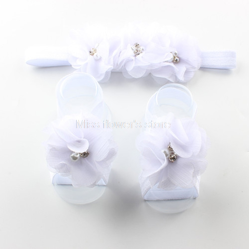 Baby Girl Rhinestone Flower Headband/&Foot Band Barefoot Sandals Shoes Photo Prop