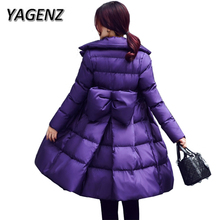 YAGENZ 2017 Fashion Winter Women Jacket Korea Elegant Slim Thick Warm Cotton Long Overcoat Solid Parkas Ladies Down Cotton Coats