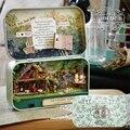 Caixa de notas de campo Antigo teatro tempo trilogia DIY Casa De Bonecas Em Miniatura 3D Luzes + Bonecas + caixa de Metal + suporte De Madeira + móveis de Brinquedo