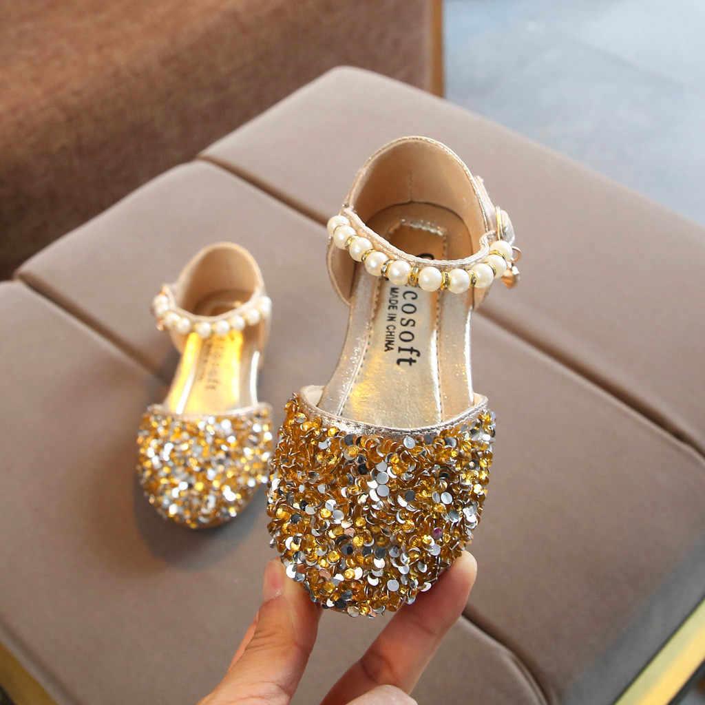 Zapatos de cuero para niños dorados y plateados de color rosa de verano, zapatos informales para fiesta de princesas, zapatos de cuero con perlas y lazo a la moda, # Y1