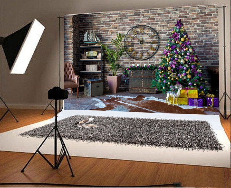 Laeacco Brick Wall Clock Christmas Tree Indoor Scene Photography Backgrounds Vinyl Custom Camera Backdrops For Photo Studio In Background From Consumer