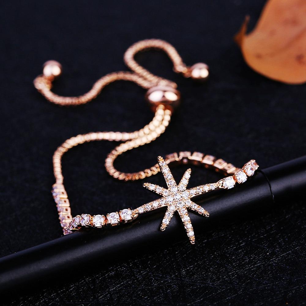 MIGGA Elegant Cubic Zirconia Star Armbånd til Kvinder Hvid / Rose - Mode smykker - Foto 6