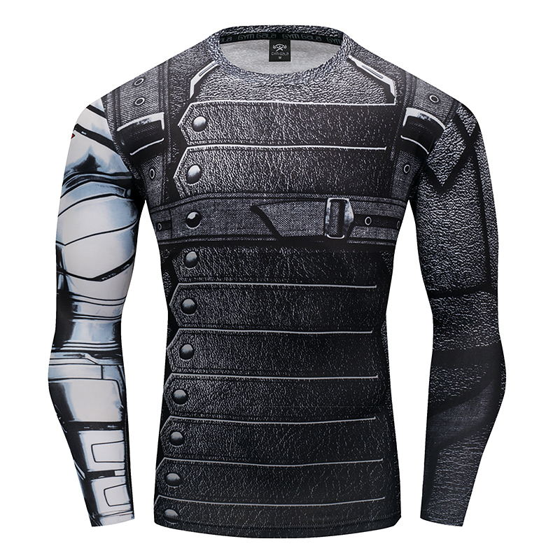 HOT SAL 3D Winter Soldier Avengers 3 Compression Shirt Men Summer Long Sleeve Fitness Crossfit T Shirts Male Clothing Tight Tops