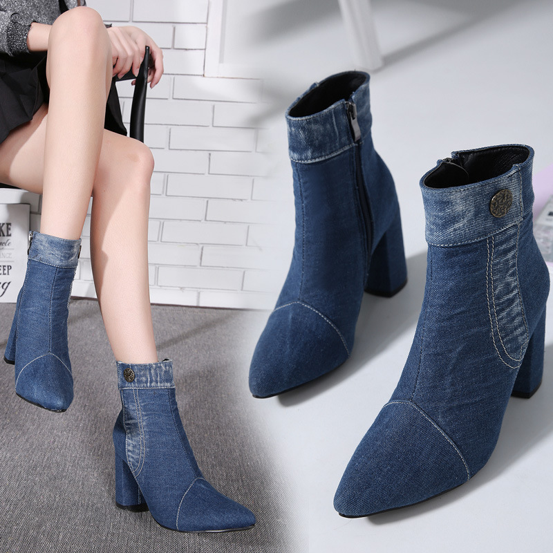 Retro Women Winter Boots Denim Ankle Boots Warm Snow Boots Faux Fur Short Plush Shoes Thick Square High Heels 8.5CM Ladies Shoes faux fur knitted bowknot snow boots