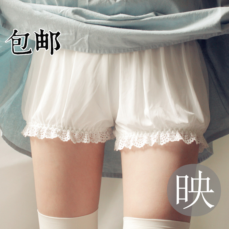 summer Lace Breathable Leggings Thin White Bloomers