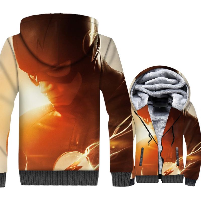 fashion The Flash 3D printed sweatshirts 2019 man plus size wool liner jackets streetwear zipper coats men Super hero top hoodie
