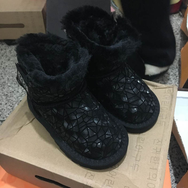 CCTWINS KIDS winter fashion fur boots baby boys brand ankle boots for children genuine leather shoes girls black warm snow boots
