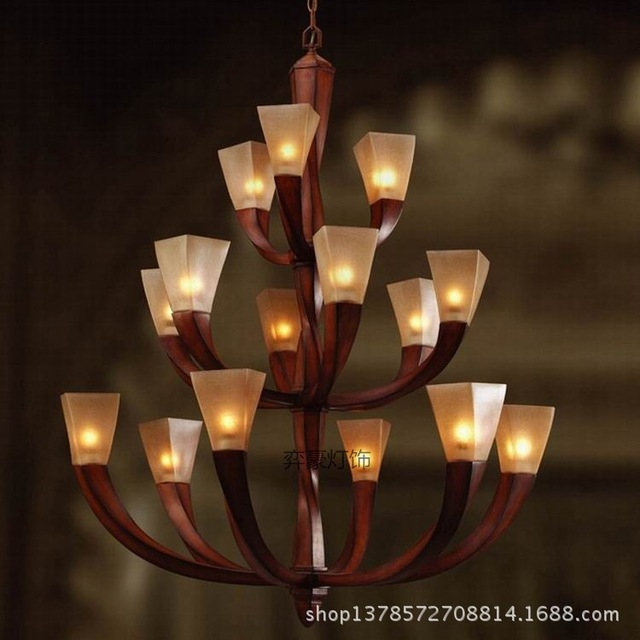 2015 luxury resin three tier hotel clubs mahogany staircase chandelier lamp chandelier long wood sticks