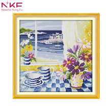 The landscape out of the window DIY hand embroidery chinese cross stitch kits patterns printed canvas needlework set home decor