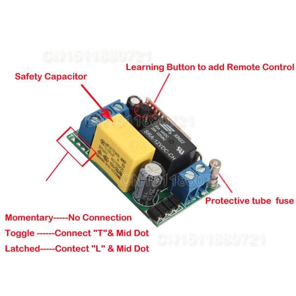220V Wireless Switch Wireless Receiver&Transmitter 220V 1CH 10A Input Output 220V 315/433mhz Long Range Light Remote Switch