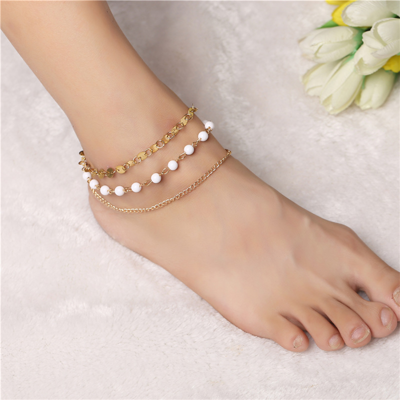 Retro Punk 2020 New Summer Fashion Anklets Wild Multi-layer Handmade Beaded Pearl Sequins Lady Legs Anklet Wholesale