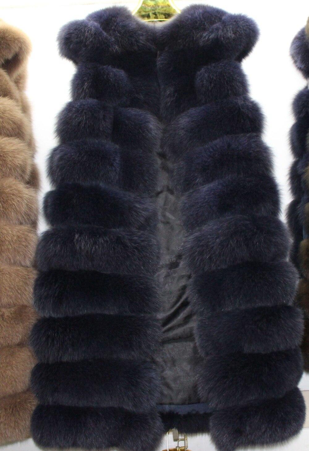 Linhaoshengyue 110cm Long  Real  Fox  Fur  Vest