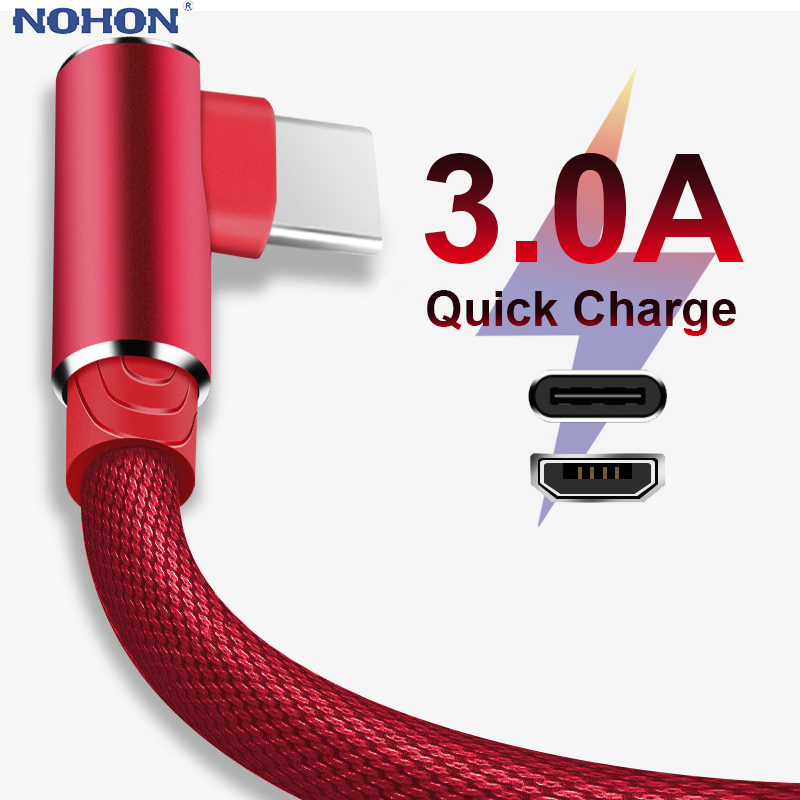 1 2 3m 90 Degree Fast Charge Data Type C Micro USB C Cable For Samsung Huawei Xiaomi Type c Charger long Mobile Phone Wire Cord|Mobile Phone Cables|   - AliExpress