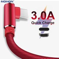 1 2 3m 90 Grad Schnelle Ladung Daten Typ C Micro USB C Kabel Für Samsung Huawei Xiaomi Typ -c Ladegerät lange Handy Draht Kabel