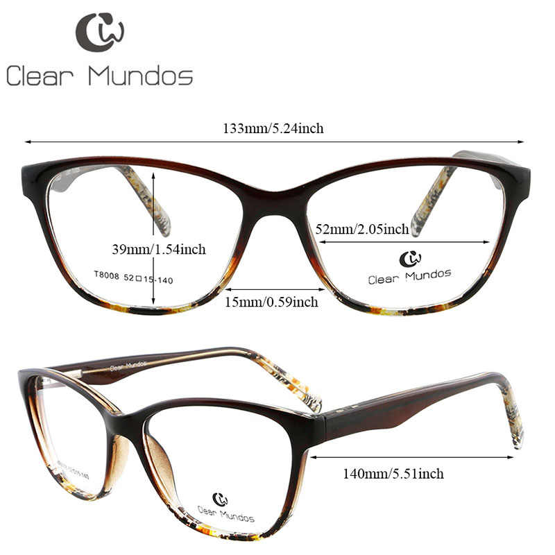 Прозрачные классические квадратные женские очки MUNDOS прочные TR90 ацетатные ручки с черепаховым цветком весенние петли без рецепта линзы