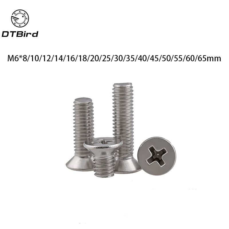 50pcs GB819 M6 Metric Thread 304 Stainless Steel flat head cross Countersunk head screw m6*(8/10/12/14/16/20/25/30/35~65) mm 100pcs gb819 m4 304 stainless steel metric thread flat head cross countersunk head screw m4 6 8 10 12 14 16 18 20 25 80 mm