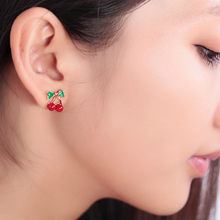 Hot 2018 New Fashion Cute Lovely Red Cherry Earrings Rhinestone Leaf Bead Stud Earrings For Woman Jewelry Boucle D'oreille Femme(China)