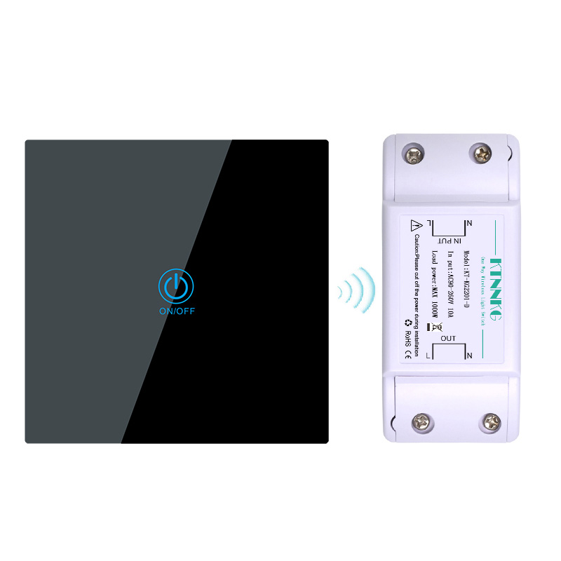 433MHz AC110V 220V 1 Way 1 Gang Smart Light Switch Kit Remote Control Relay Receiver Touch Panel Tempered Glass 86 Touch Remote433MHz AC110V 220V 1 Way 1 Gang Smart Light Switch Kit Remote Control Relay Receiver Touch Panel Tempered Glass 86 Touch Remote