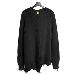Image 3 - Mùa thu đông nam rách lỗ Miếng dán cường lực quá khổ Áo len dệt kim không đều thiết kế hip hop Punk đan nữ Vintage chui đầu