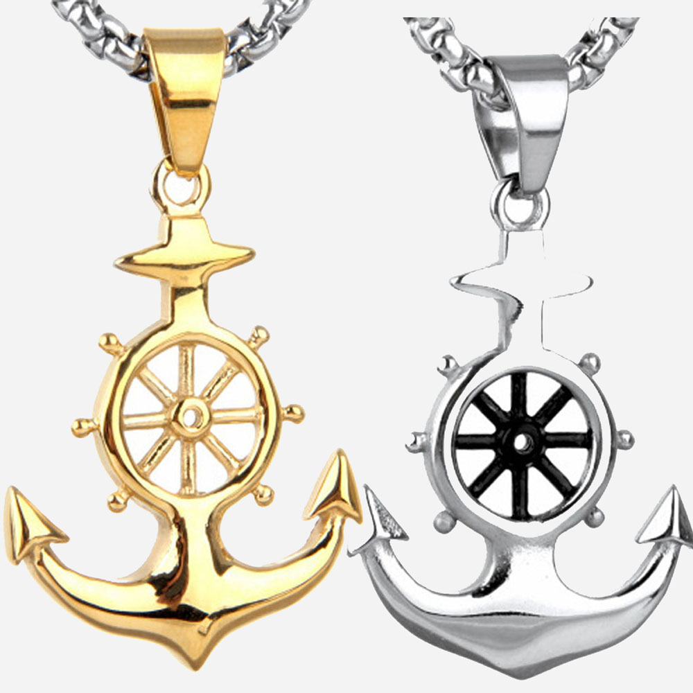 Men's Anchor Necklace Trendy Gold/Silver Plated Hip Hop Anchor Cross Charm Pendant Rudder Anchor Nautical Jewelry Chain Necklace alloy anchor rudder leather friendship love couple charm bracelet
