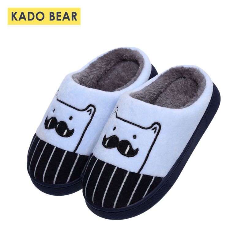 Children Cartoon Cotton Winter Slippers Kids Fur Plush