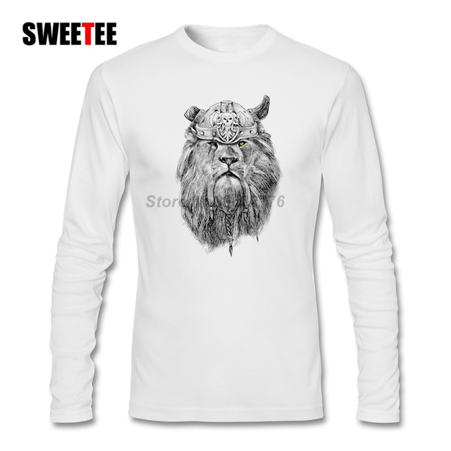 b99ed292c545e Viking Lion T Shirt Men S Autumn O Neck Long Sleeve T Shirts Men Clothing  Cool