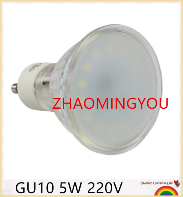 volledige watt 5 w gu10 220 v mr16 led gloeilampen hittebestendig glas body 15 leds spotlight