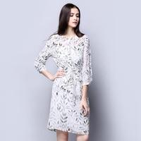 100 Silk Crepe Dress Light Grey And Pink Versions For Option Three Quarter Sleeve Women Dress