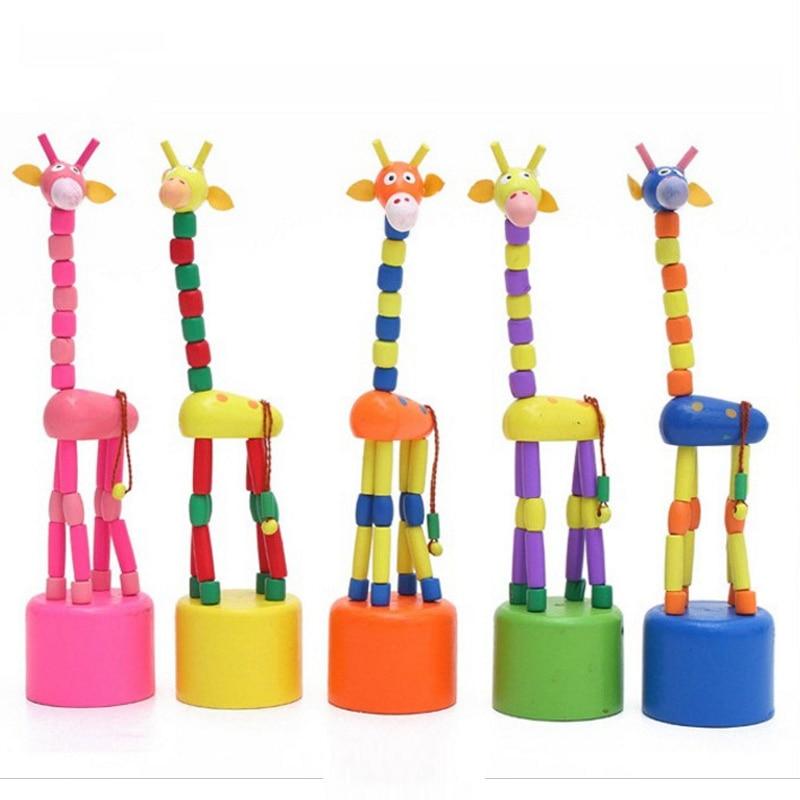 Interesting Fun 2Pcs/Lot 17CM Mini Animal Cute Wooden Dancing Giraffe Rocking Station Bucket Children Birthday Christmas Gifts