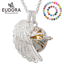 FH35 Silver Stainless Steel Angel Wing Necklace 16mm Chime Ball Locket Pendant Mexican Bola