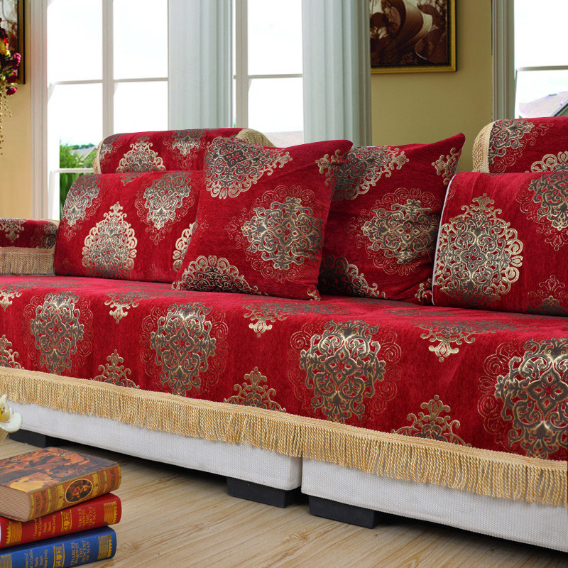 Beautiful National Red Sofa Cover Chenille Jacquard Flocked Fundas Seat