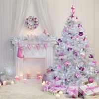 Laeacco Cute Christmas Tree Balls Gifts Candles Fireplace Photography Backgrounds Vinyl Custom Camera Backdrops For Photo