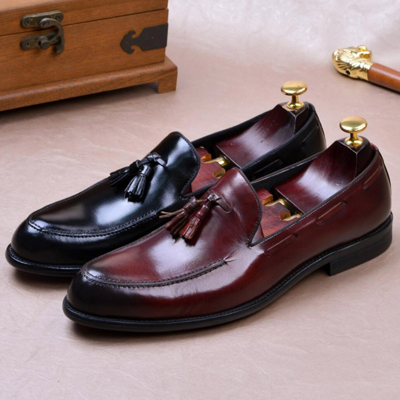 New Arrival Man Moccasin Casual Shoes Genuine Leather Height Increasing Loafers Round Toe Slip on Handmade