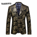 Golden Paisley Floral Blazer Men Slim Fit Men Suit Jacket Luxury Stage Wear For Singer Fashion Big Size Wedding Blazer Homme 4XL