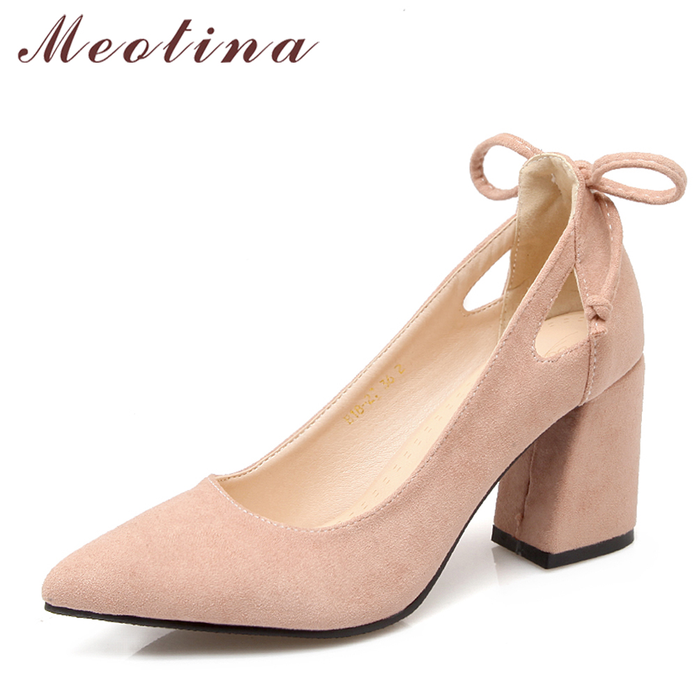 Meotina Women Pumps Thick Heel Female Shoes Pointed Toe High Heels Bow Ladies Party Shoes Slip On Shoes Black Plus Size 33-46 43 meotina genuine leather women shoes female plaid party shoes block heel bow strap high heels kid suede ladies pumps 2018 spring