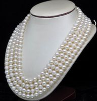 noble women gift Jewelry Silver Clasp Natural GW Fine 4 Strand 7 8MM AAA White Pearl Necklaces