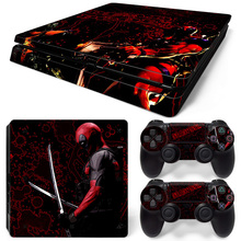 Deadpool Skin Sticker For PS4 Slim Game Console