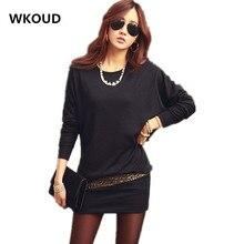 Wkoud 2017 New A-line Full Vestidos De Fiesta Women Bat-wing Sleeve Dress Fashion Patchwork Mini Dresses Plus Size L8047