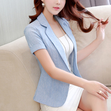 2018 Spring And Summer New Women Short Jacket Slim Woman Suit Sleeved Jacket Casual Blazer Blue