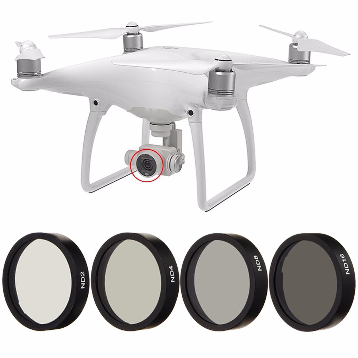 Nuevo 4 Unid ND2 ND4 ND8 ND16 Len filtro para DJI Phantom 3 4 profesional avanzado Cámara Drone con cámara de la lente de marco negro