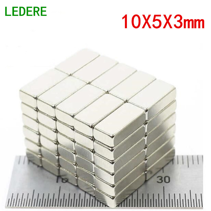 LEDERE 100/200pcs 10x5x3 N35 Rectangular magnet Super Strong Neodymium magnet 10*5*3 mm NdFeB magnet 10mm x 5mm x 3mm 3 x 4 8mm cylindrical ndfeb magnet silver 100pcs