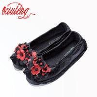Xiuteng National Flowers Handmade Genuine Leather Shoes Women For Summer Retro Soft Bottom Flat Shoes Ballet