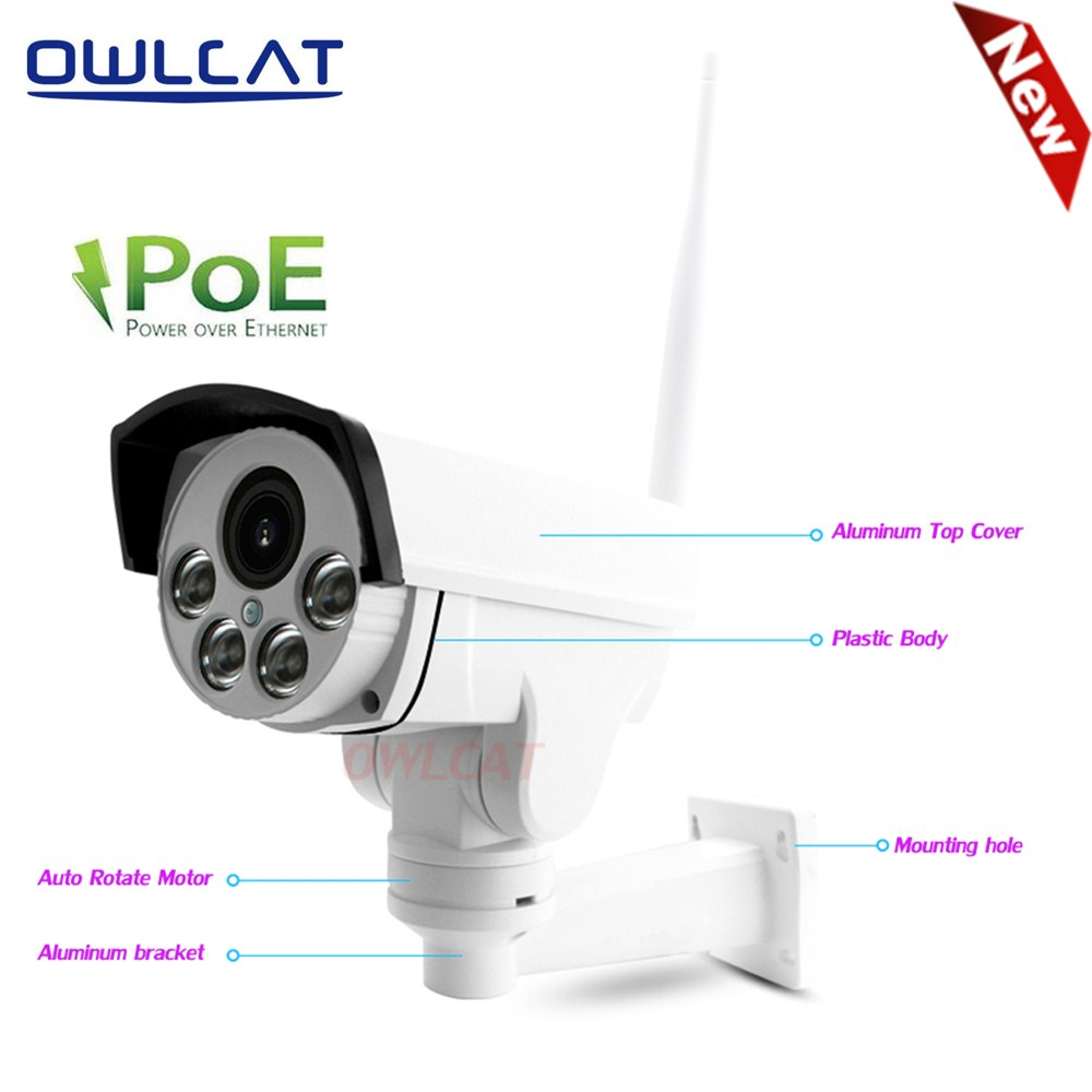 OwlCat Hi3516C SONY IMX323 Wifi IP Camera PTZ PoE 48V 5X Optical Zoom Outdoor Night Vision