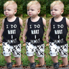 Newborn Baby Kids Boys Tops Cool Letter Printing I do what want Sleeveless T-shirt Vest Short pants Outfits Set Clothes 2019