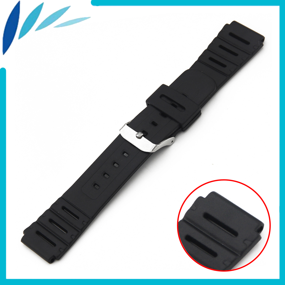 Silicone Rubber Watch Band 18mm for Casio F-91W Watchband Strap Wrist Loop Belt Bracelet Black Men Women + Spring Bar  + Tool t rrce expert black silicone rubber strap t048 watch band for t048417a 21mm