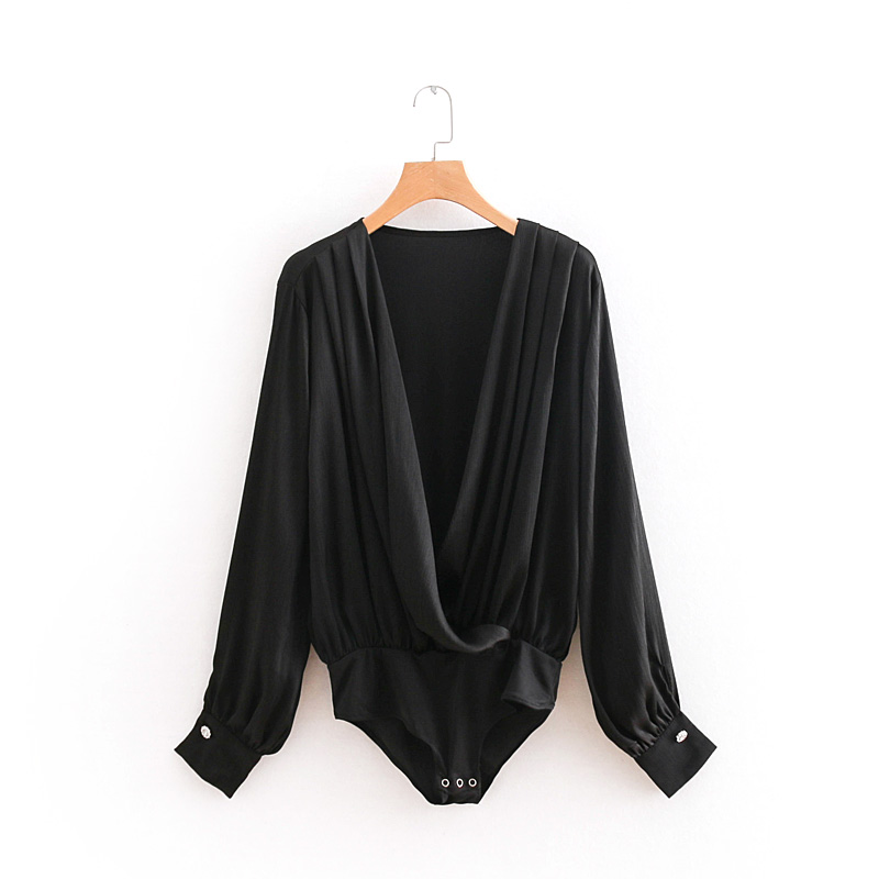 Women Retro sexy cross v neck long sleeve black bodysuit shirt casual pleated siamese blouse playsuits femininas blusas LS2685